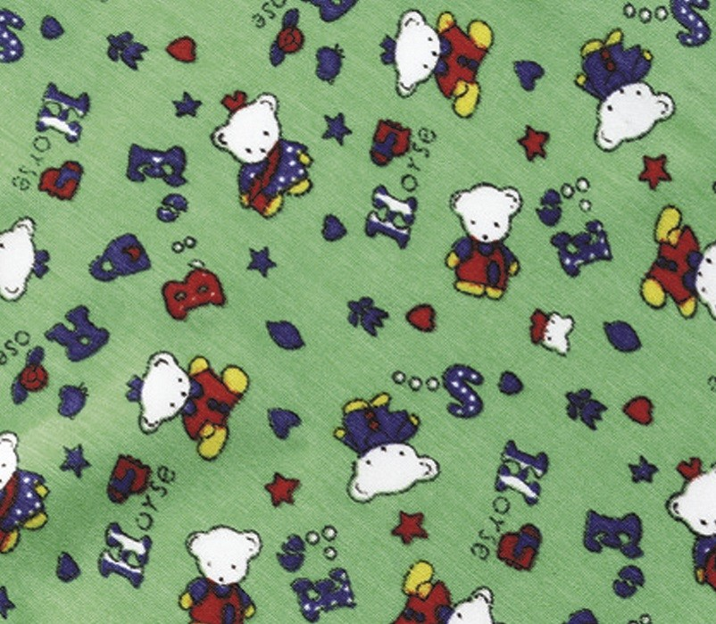 Green fabric with bears
