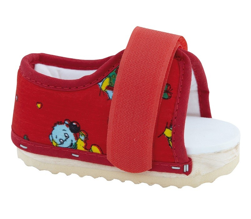 Paediatric Post Op Shoe in red fabric