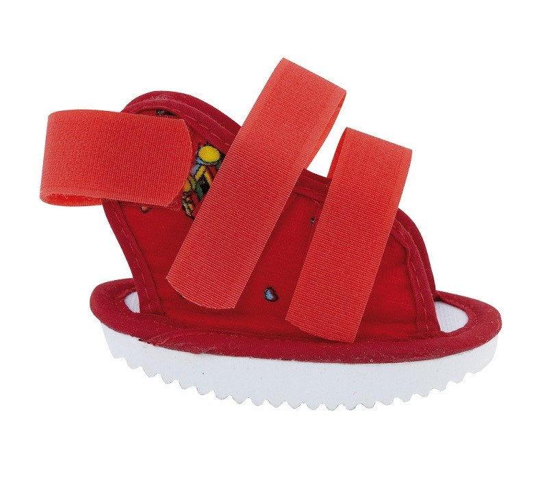 Paediatric Cast Boot Open in red fabric