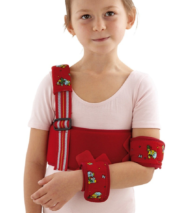 Paediatric Deluxe Shoulder Immobiliser in red fabric