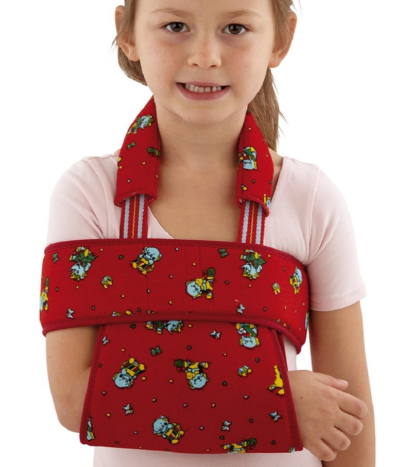Paediatric Deluxe Sling and Swathe in red fabric